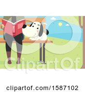 Clipart Of A Dog Sitting On A Park Bench By A Reading Woman Royalty Free Vector Illustration