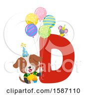 Clipart Of A Birthday Animal Alphabet Letter D With A Dog Royalty Free Vector Illustration