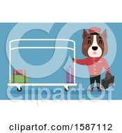 Clipart Of A Dog Bell Boy With A Luggage Cart Royalty Free Vector Illustration