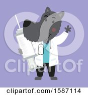 Clipart Of A Veterinarian Dog Holding A Vaccine Syringe Royalty Free Vector Illustration