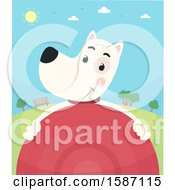 Clipart Of A Dog Holding A Frisbee In A Park Royalty Free Vector Illustration by BNP Design Studio