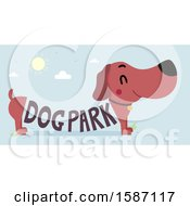 Clipart Of A Daschund With Dog Park Text Forming His Body Royalty Free Vector Illustration