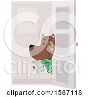 Clipart Of A Veterinarian Dog Holding A Door Open Royalty Free Vector Illustration