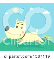 Clipart Of A Dog Running In A Park Royalty Free Vector Illustration
