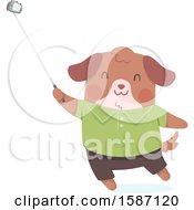 Clipart Of A Dog Using A Selfie Stick Royalty Free Vector Illustration
