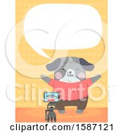 Clipart Of A Dog Talking And Taking A Picture With A Camera On A Tripod Royalty Free Vector Illustration