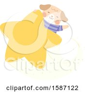 Clipart Of A Dog Riding On A Star Royalty Free Vector Illustration