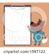 Clipart Of A Veterinarian Dog Presenting A Giant Clipboard Royalty Free Vector Illustration