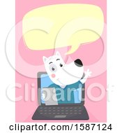 Poster, Art Print Of Veterinarian Dog Talking And Emerging From A Laptop