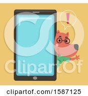 Clipart Of A Veterinarian Dog Talking And Waving Around A Giant Smart Phone Royalty Free Vector Illustration