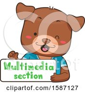 Clipart Of A Dog Holding A Multimedia Section Sign Royalty Free Vector Illustration