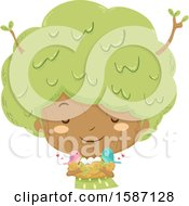 Clipart Of A Tree Girl Holding A Nest With Birds And Eggs Royalty Free Vector Illustration