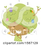 Clipart Of A Girl Tree With Singing Birds Royalty Free Vector Illustration