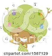 Girl Tree With Singing Birds