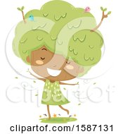Clipart Of A Girl Tree Dancing In A Breeze Royalty Free Vector Illustration