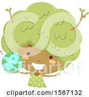 Clipart Of A Girl Tree Holding A Globe Royalty Free Vector Illustration