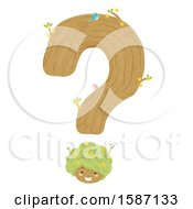 Clipart Of A Girl Tree As Part Of A Question Mark Royalty Free Vector Illustration
