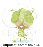 Clipart Of A Girl Tree Dancing In The Rain Royalty Free Vector Illustration