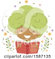 Clipart Of A Girl Tree Reading A Book Royalty Free Vector Illustration