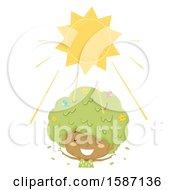 Clipart Of A Girl Tree Enjoying The Sunshine Royalty Free Vector Illustration