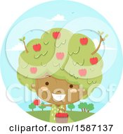 Clipart Of A Girl Tree Picking Her Own Apples Royalty Free Vector Illustration