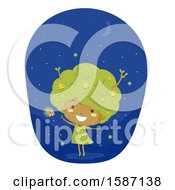 Clipart Of A Girl Tree With Fire Flies Royalty Free Vector Illustration