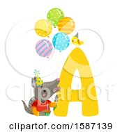 Birthday Animal Alphabet Letter A With An Armadillo