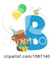 Clipart Of A Birthday Animal Alphabet Letter A With A Bear Royalty Free Vector Illustration