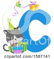 Birthday Animal Alphabet Letter C With A Cat