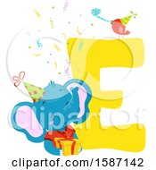 Clipart Of A Birthday Animal Alphabet Letter E With An Elephant Royalty Free Vector Illustration