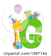 Clipart Of A Birthday Animal Alphabet Letter G With A Giraffe Royalty Free Vector Illustration