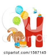 Clipart Of A Birthday Animal Alphabet Letter H With A Hare Royalty Free Vector Illustration