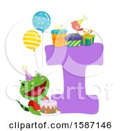 Clipart Of A Birthday Animal Alphabet Letter I With An Iguana Royalty Free Vector Illustration