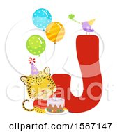 Clipart Of A Birthday Animal Alphabet Letter J With A Jaguar Royalty Free Vector Illustration