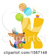 Clipart Of A Birthday Animal Alphabet Letter K With A Kangaroo Royalty Free Vector Illustration