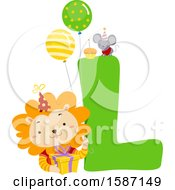 Clipart Of A Birthday Animal Alphabet Letter L With A Lion Royalty Free Vector Illustration