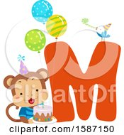 Birthday Animal Alphabet Letter M With A Monkey