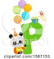 Clipart Of A Birthday Animal Alphabet Letter P With A Panda Royalty Free Vector Illustration