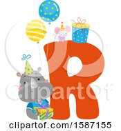 Clipart Of A Birthday Animal Alphabet Letter R With A Rhino Royalty Free Vector Illustration by BNP Design Studio