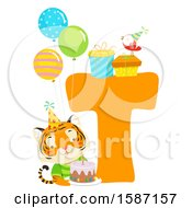 Birthday Animal Alphabet Letter T With A Tiger