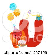 Clipart Of A Birthday Animal Alphabet Letter U With A Uakari Royalty Free Vector Illustration