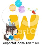 Poster, Art Print Of Birthday Animal Alphabet Letter W With A Wolf