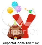 Clipart Of A Birthday Animal Alphabet Letter Y With A Yak Royalty Free Vector Illustration