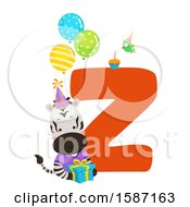 Clipart Of A Birthday Animal Alphabet Letter Z With A Zebra Royalty Free Vector Illustration