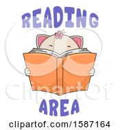 Clipart Of A Cat Holding A Book With Reading Area Text Royalty Free Vector Illustration