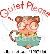 Clipart Of A Reading Monkey Saying Quiet Please Royalty Free Vector Illustration
