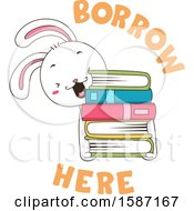 Clipart Of A White Rabbit Holding A Stack Of Books With Borrow Here Text Royalty Free Vector Illustration