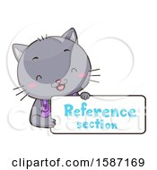 Cat Holding A Reference Section Sign