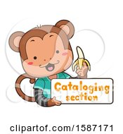 Monkey Holding A Cataloging Section Sign