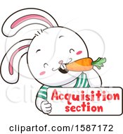 Clipart Of A White Rabbit Eating A Carrot Over An Aquisition Section Sign Royalty Free Vector Illustration